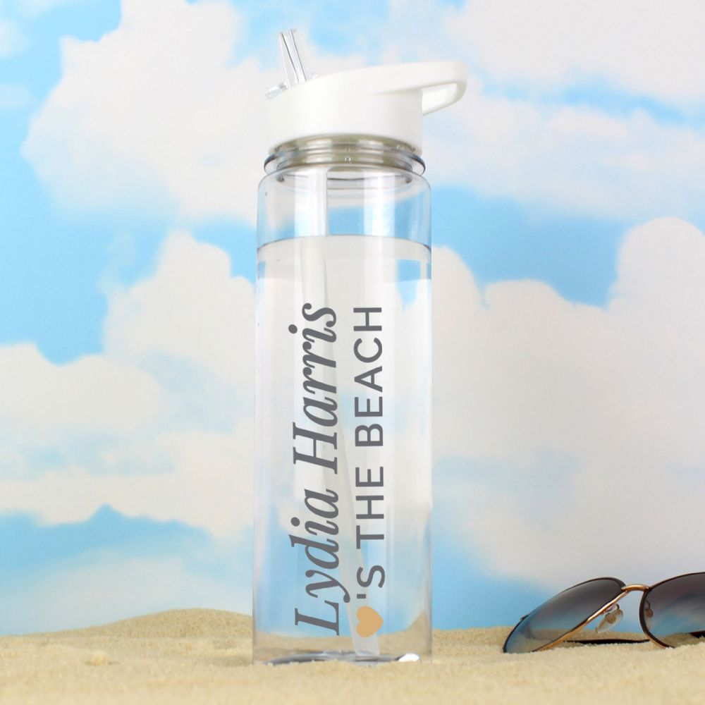 Personalised Gold Heart Island Water Bottle